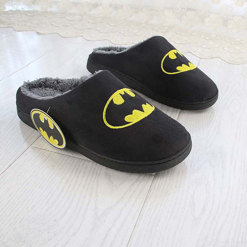 080f2cb7b0c385 Home Batman Slippers Lovers Funny Adult Winter Warm Shoes Fur Funny ...