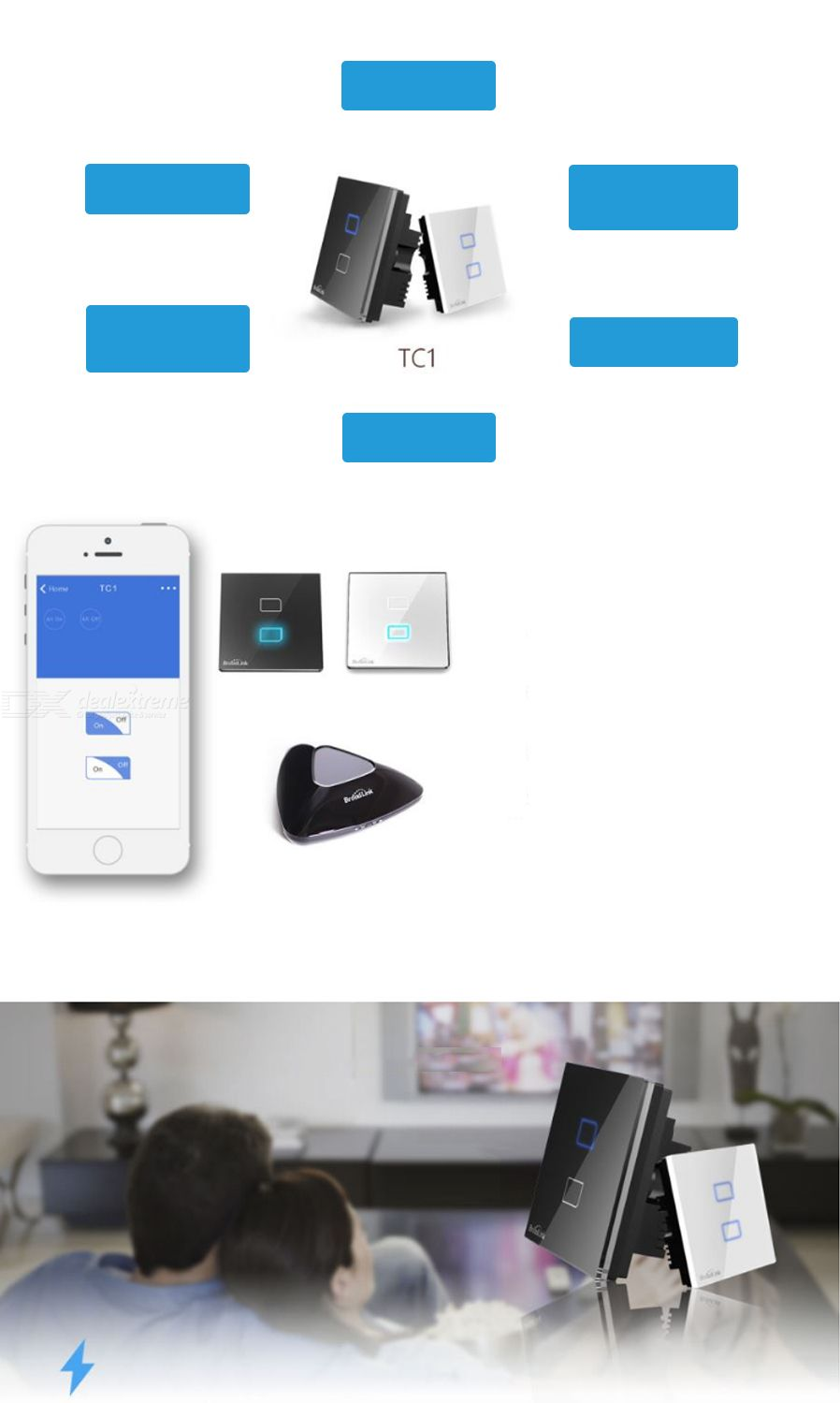 BroadLink TC2 CN/UK Smart Home Wall Light Switch by IOS, Android