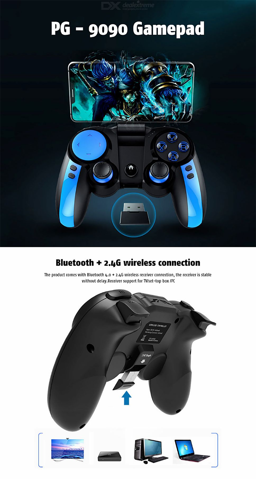 IPEGA PG-9090 Wireless Game Controller 2 4Ghz Bluetooth Gamepad For