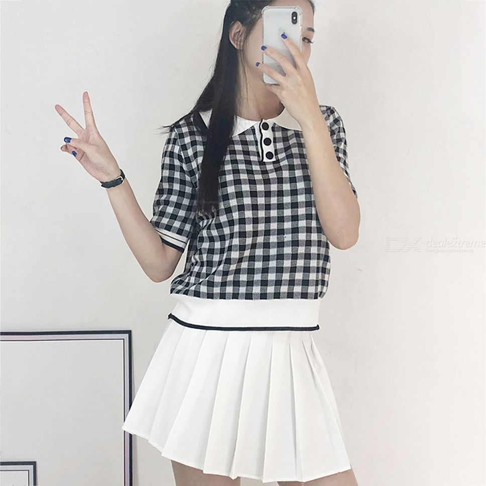 8be7de76fb Womens Clothes Set Classic Plaid T-shirt + Pleated Skirts - Free ...