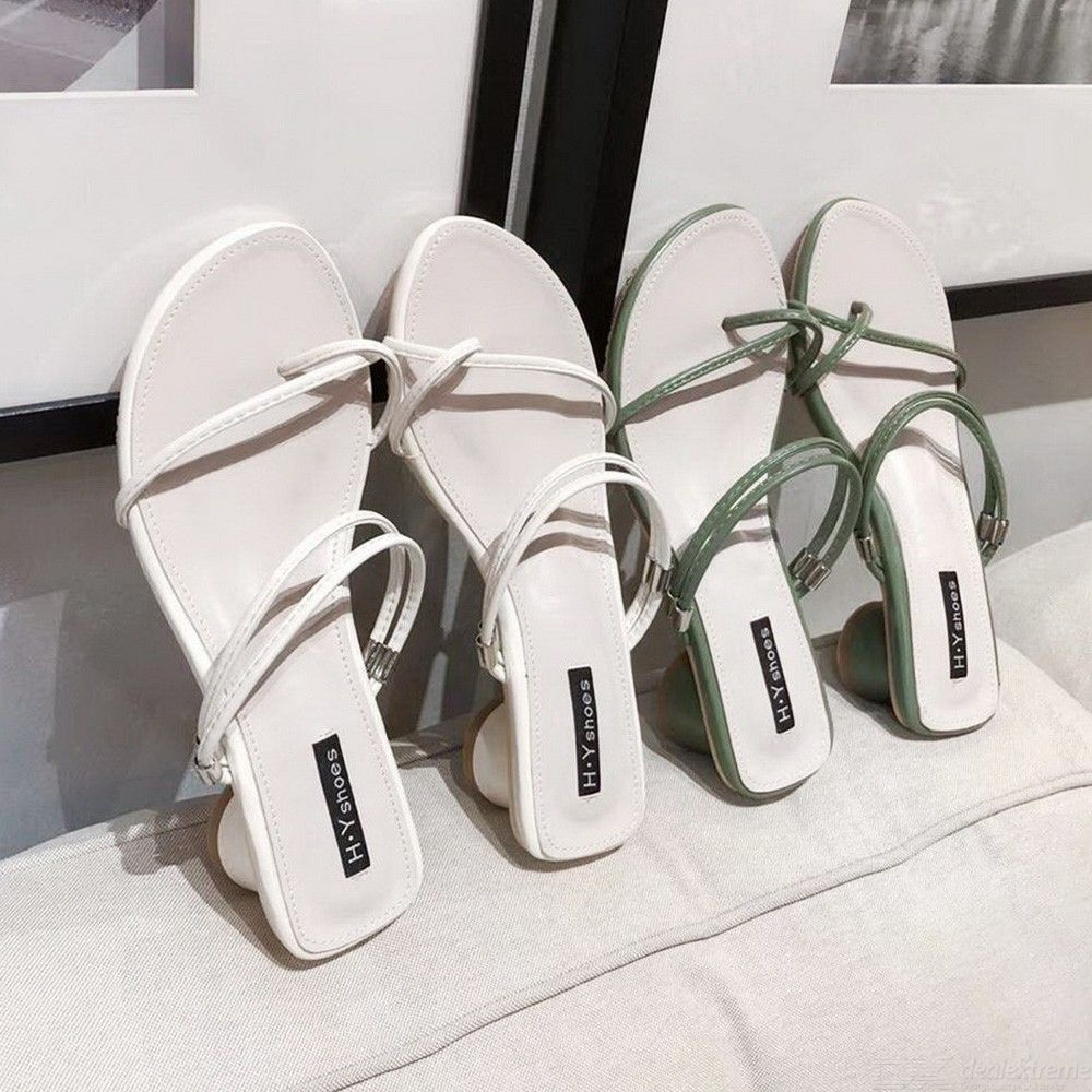 a34482bfa8 Women Cross Toe Strap Summer Outside Chunky Med Heel Sandals And Slippers