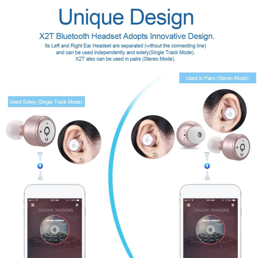 x2t mini invisible bluetooth v4 2 stereo earphone w charger blue free sh. Black Bedroom Furniture Sets. Home Design Ideas