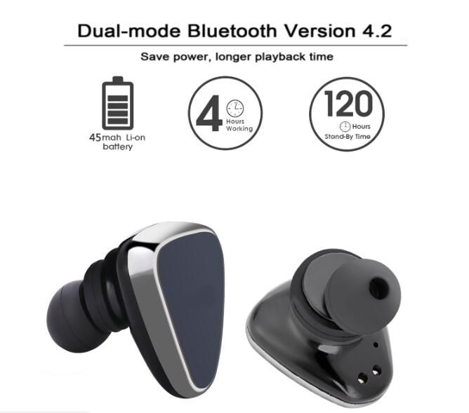 bluetooth stereo earbud headphones with portable charging case silver free shipping dealextreme. Black Bedroom Furniture Sets. Home Design Ideas