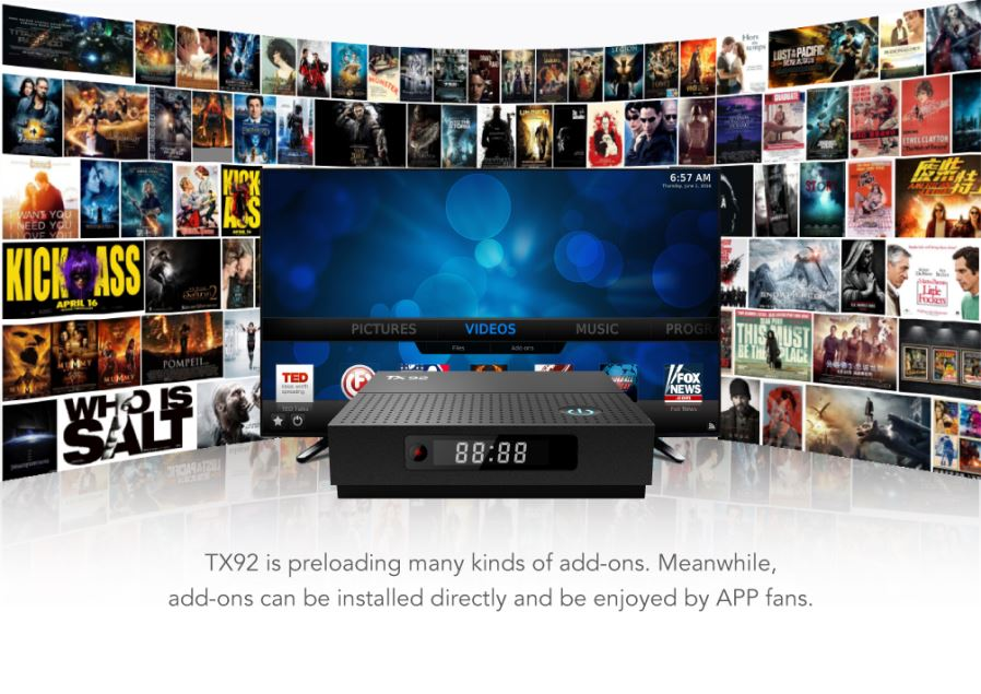 TX92 Amlogic S912 Android 7 1 4K HD TV Box with 3GB, 64GB (US Plug)