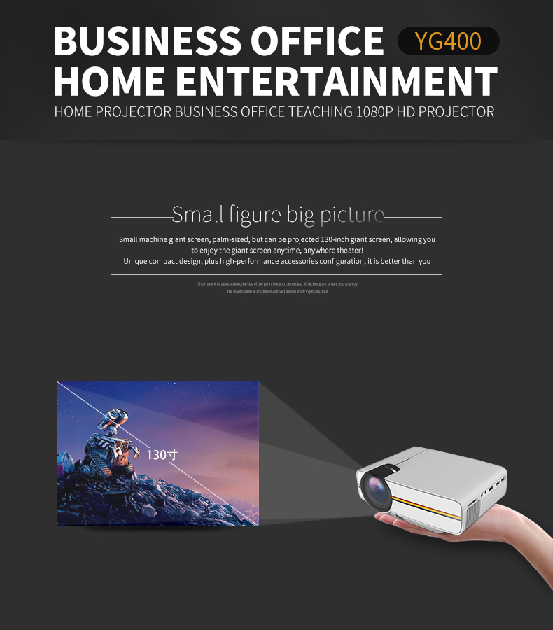 YG410 Mini Portable 1080P HD LED Projector for IPHONE, Android Smartphone,  Tablet PC - Black (EU Plug)