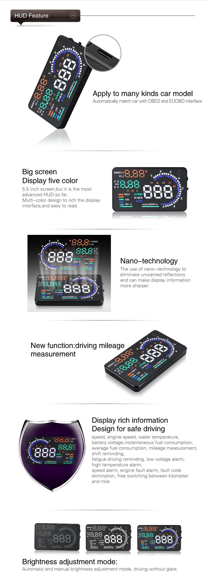 A8 55 Car Hud Head Up Display Led Projector Obd2 Remote Control Toy Transmitter Circuit Automotivecircuit For Asia It Can Only Be Used Cars With Manufactured After 2007 No Support Obd I And Jobd Japanese