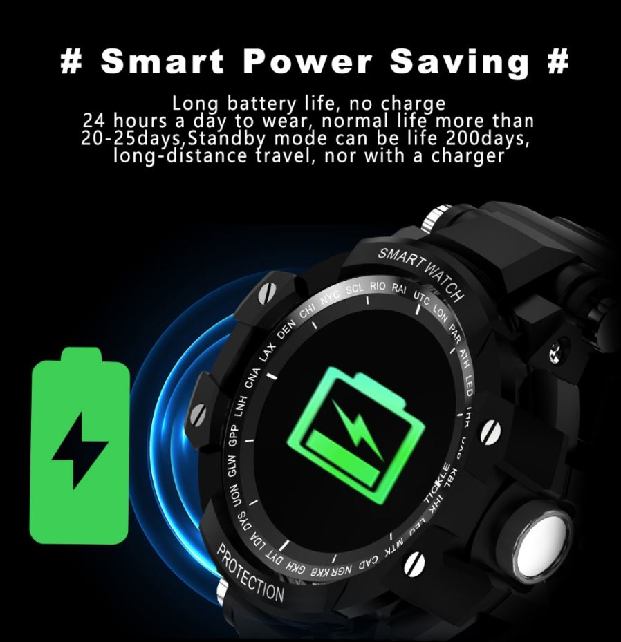 GW68 Smart Watch IP67 Waterproof 200 Days Long Standby Heart Rate Blood  Pressure Monitoring - Black