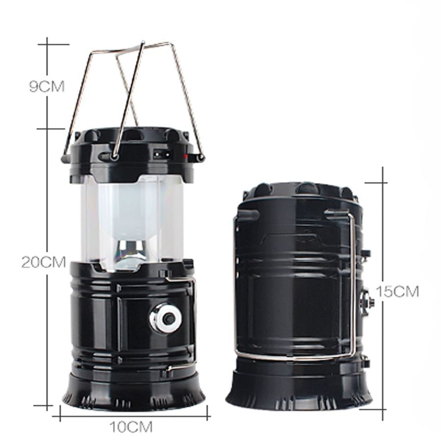 cl 2 bk 7 led camping lamp with flashlight solar recharger black free shipping dealextreme. Black Bedroom Furniture Sets. Home Design Ideas