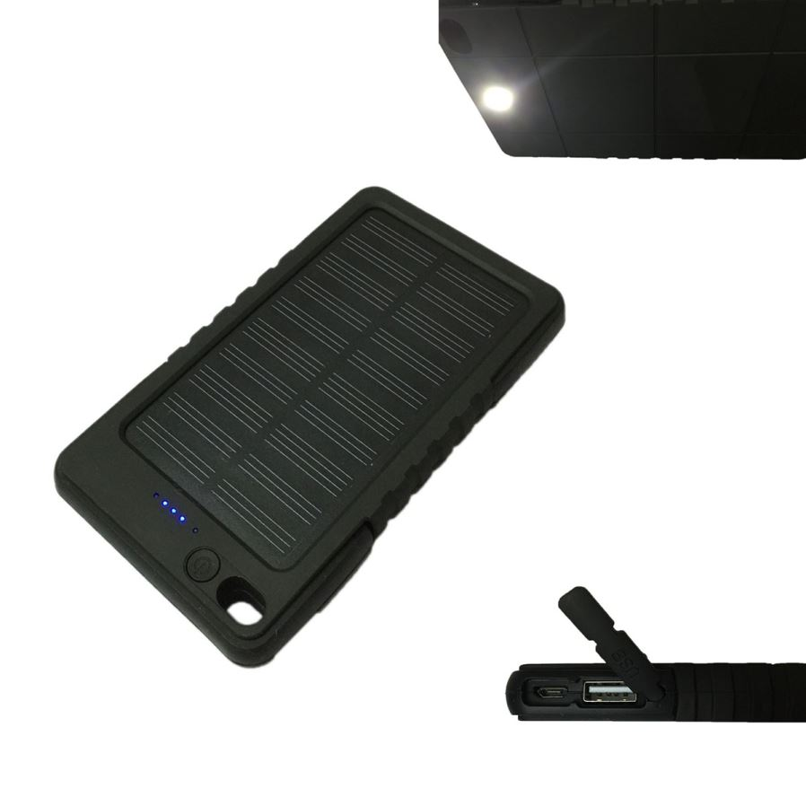 8000mah solar recharger power bank with flashlight for mobile black free shipping dealextreme. Black Bedroom Furniture Sets. Home Design Ideas