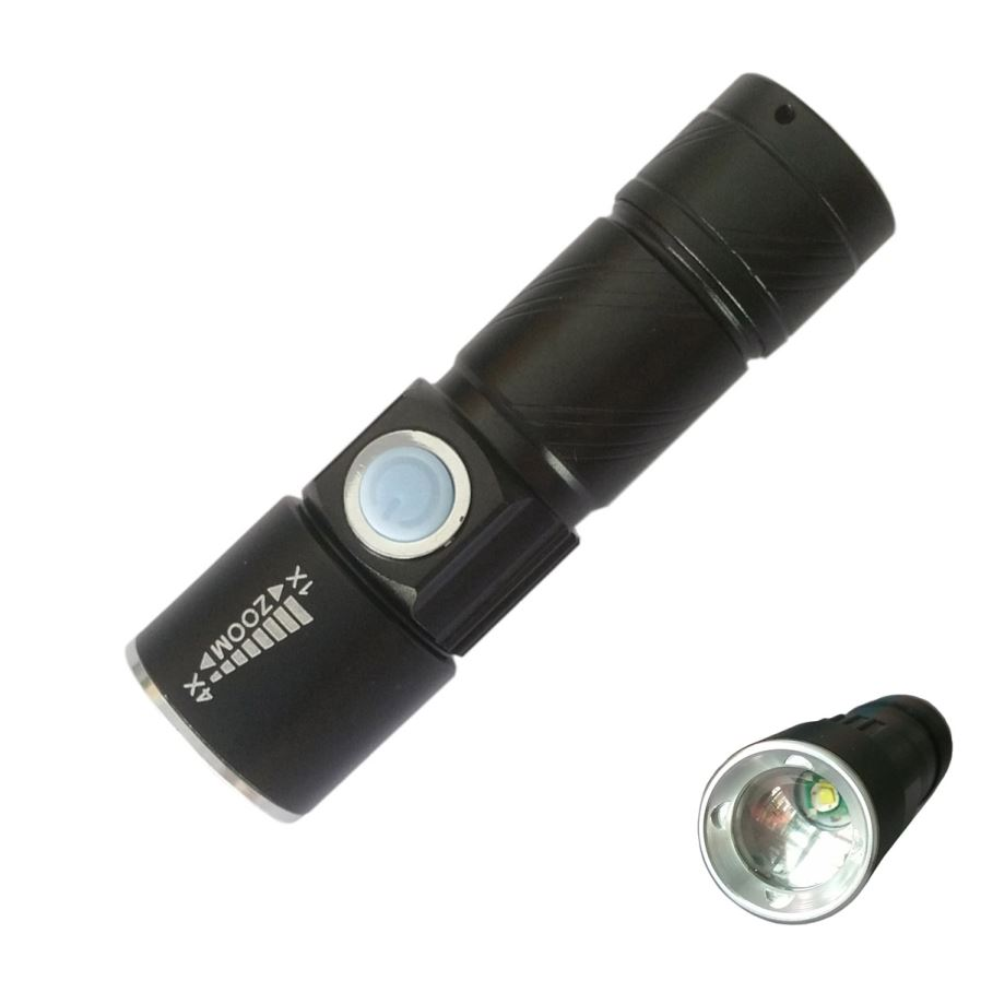 S Size USB Rechargeable 3-Mode Zooming Flashlight