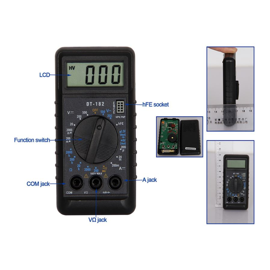 DT182 LCD Handheld Digital Multimeter for Home and Car - Black ...