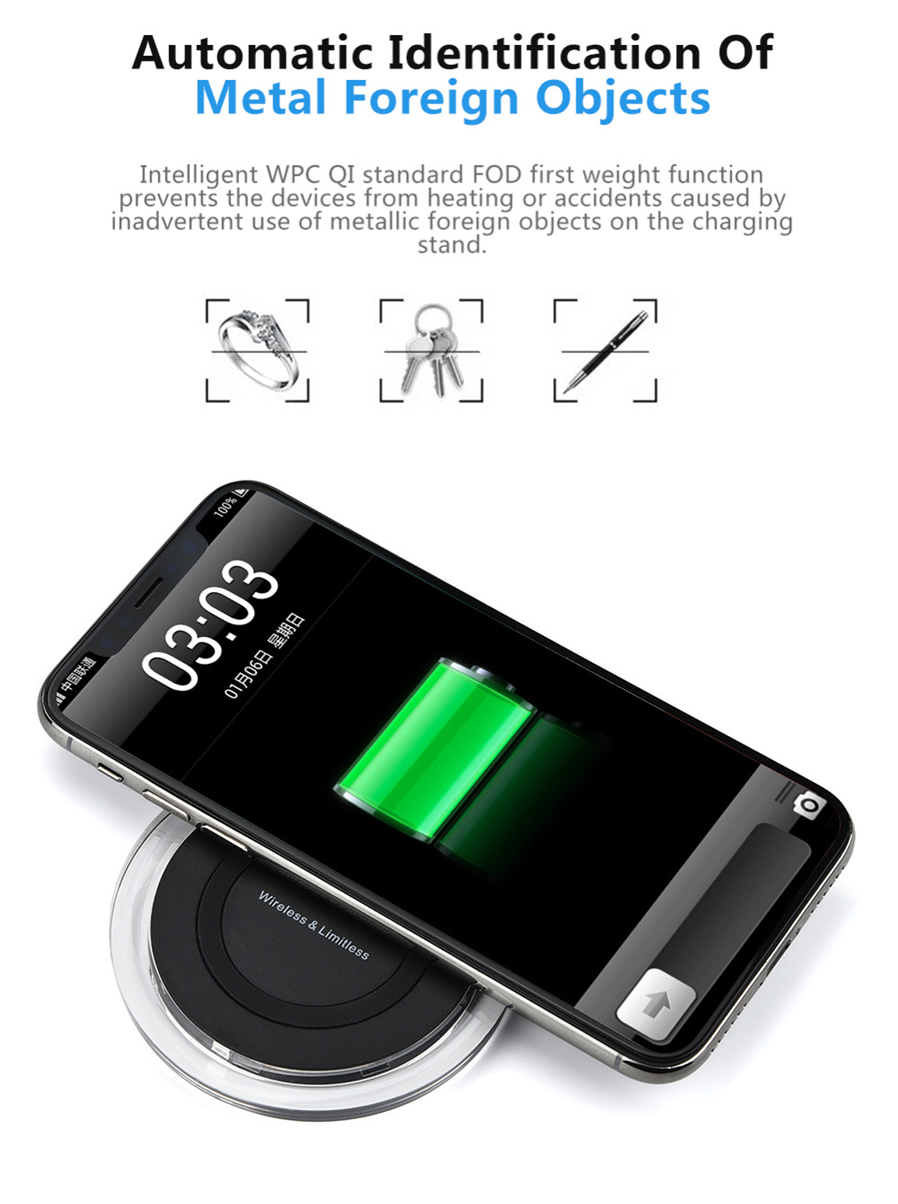 fast wireless charger stand qi charging pad for samsung iphone 8 iphone x black free. Black Bedroom Furniture Sets. Home Design Ideas