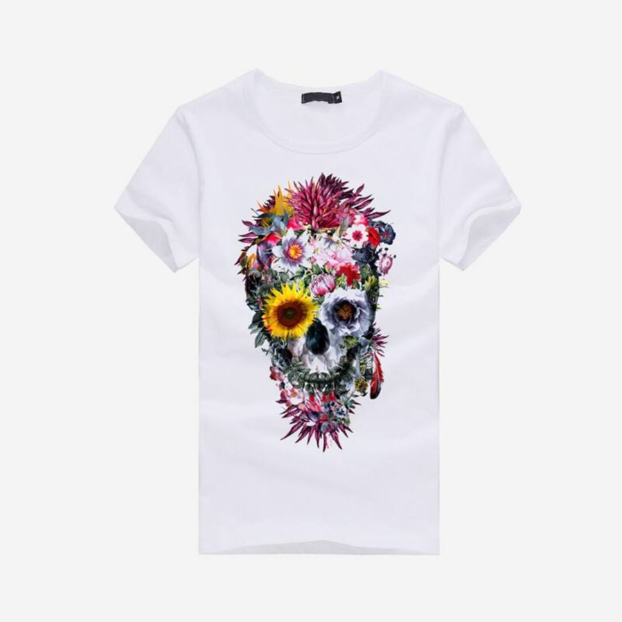 2e6c8482953f 3D Skull Pattern Fashion Personality Casual Cotton Short-Sleeved T ...