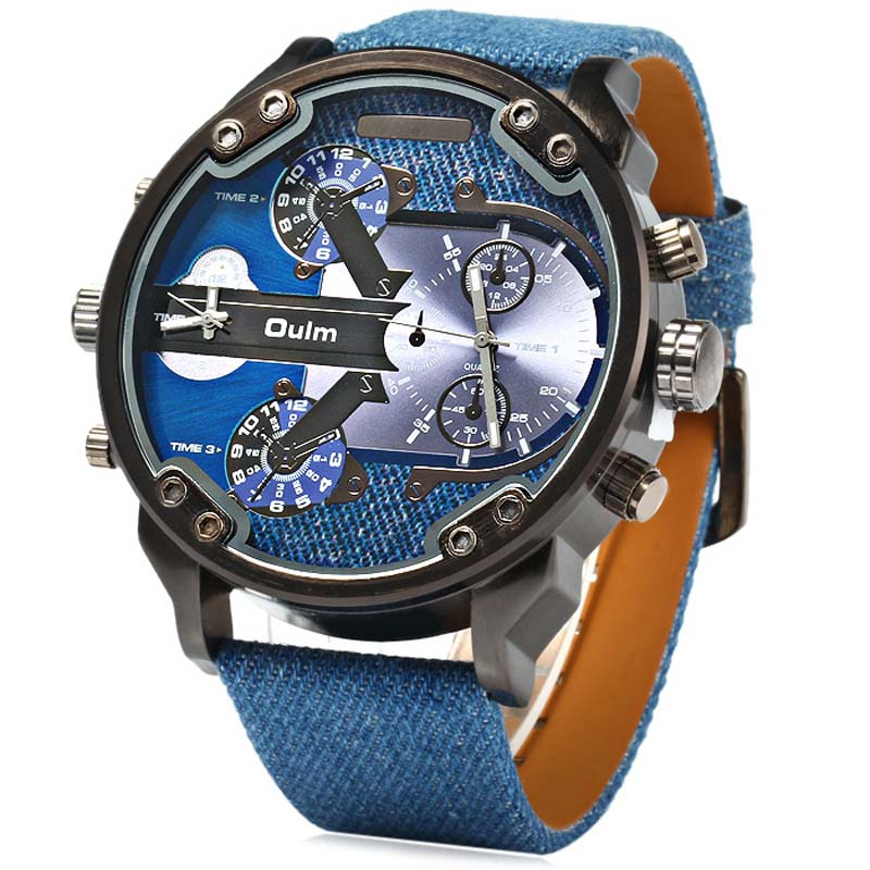 OULM HP3548 Men's Military Sports Multiple Time Zone Watch - Blue - Free Shipping - DealExtreme