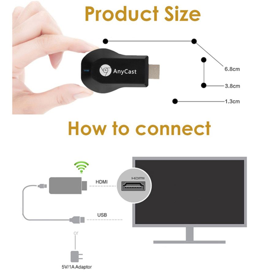 Maikou Anycast M9 Plus Tv Stick Miracast Airplay Hd 1080p Wireless Wifi Display Receiver Hdmi Dongle Os Android 42 Castrated Version