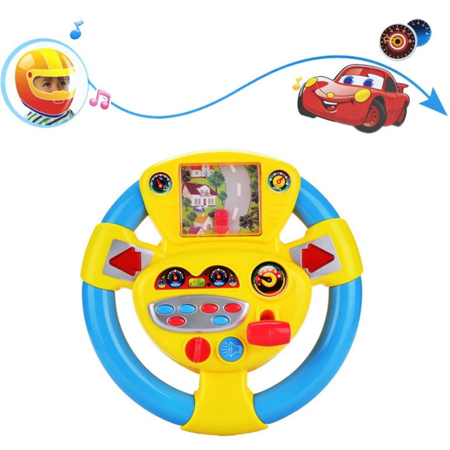 Vehicle Simulation Steering Wheel Car Games Baby Early Education Toy Yellow Blue