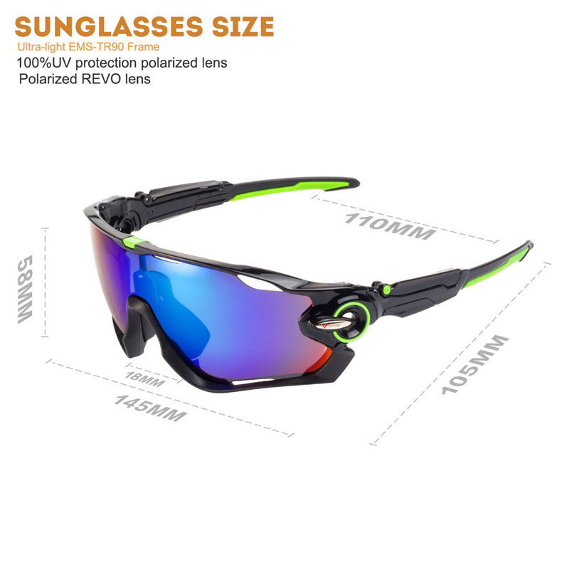 2d569ed283 Sport polarized sunglasses WG9270 black + green frame blue REVO new outdoor  sports riding sunglasses
