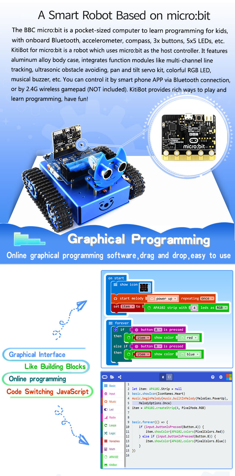 Waveshare Kitibot Starter Tracked Robot Building Kit For Microbit Robo Car Android Bluetooth Remote Control Project Using 89c2051 When Meets Kids Meet Programming The Mysterious Robotics Becomes Simple Each Interesting Idea Will Come True By