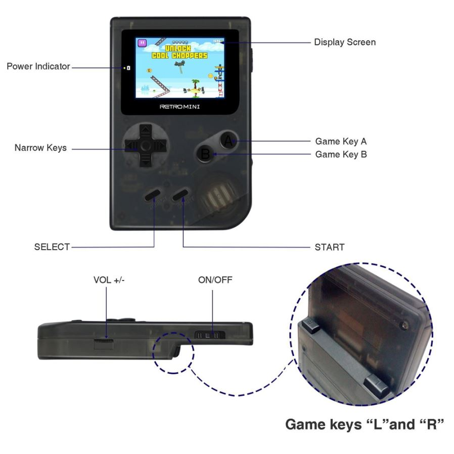 Retro Mini 2 Inches Handheld Game Console With Built-in