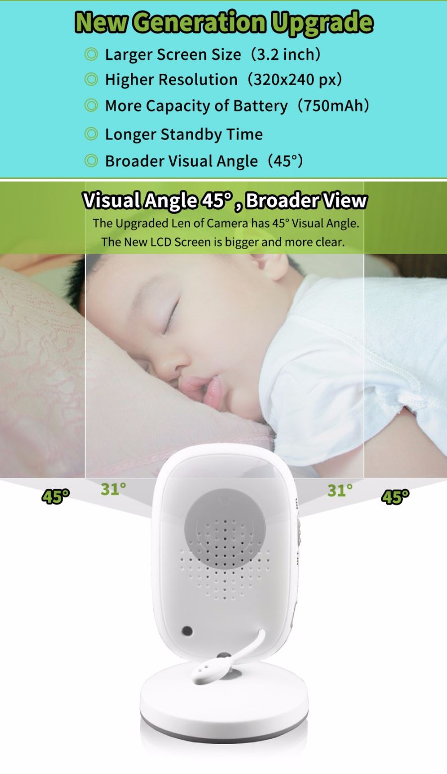 Wireless Digital Video Camera Baby Monitor with 3.2 Inch ...