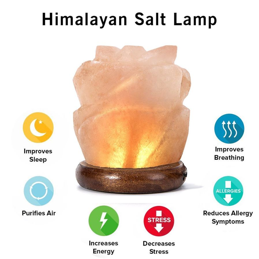 Do Salt Lamps Get Wet : YouOKLight Flower Hand Carved USB Wooden Base Himalayan Crystal Rock Salt Lamp, Air Purifier ...