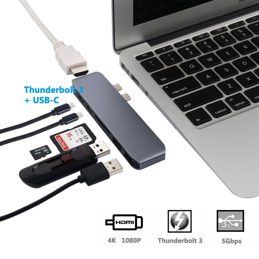 7 In 1 4k Hd Dual Type C Hub Adapter Usb To Hdmi Sd Tf Card Macbook Pro 30 Aluminum Is Designed For 2016 And 2017 Including 13 Inch 15 Unique Port Thunderbolt 3 Hot Note Can Not