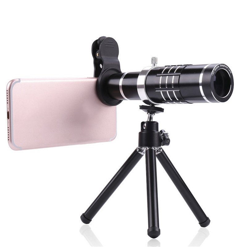 Universal 18X Clip-on Optical Zoom Telephoto Wide Angle Macro Lens with  Flexible Tripod for IPHONE, Samsung + More - Black