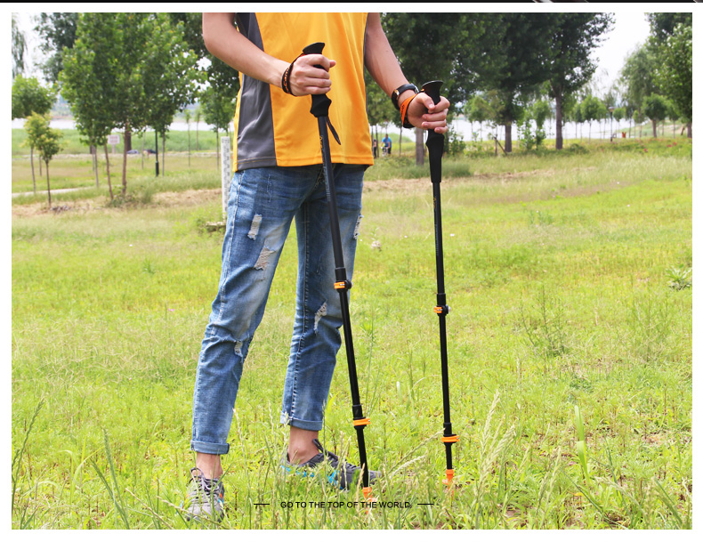 2ead586a2a53 AceCamp Carbon 80% External Lock Trekking Pole, Telescopic Ultralight  Hiking Walking Stick Cane with Tips Protector