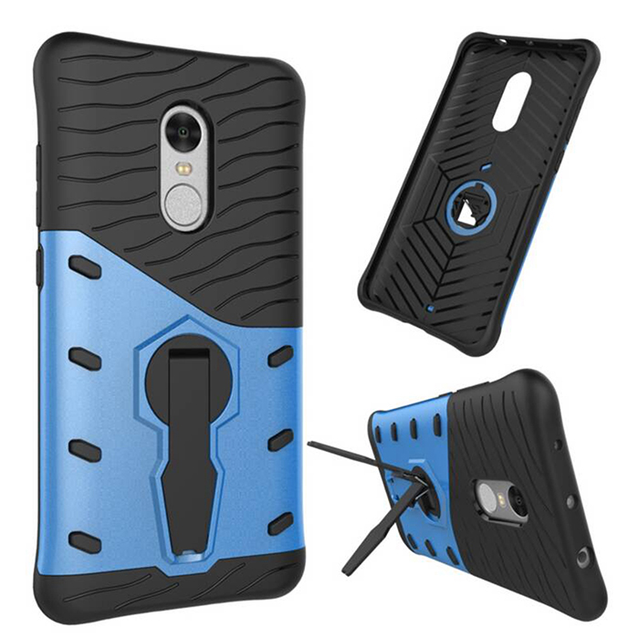 TPU + PC Cases w/ Holder Stand for Xiaomi Redmi Note 4 - Black + Blue - Free Shipping - DealExtreme