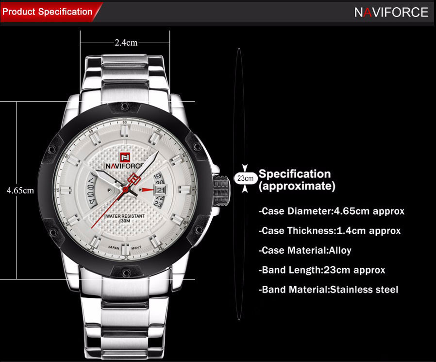 4b6d5c6be Specification: Case Diameter: 4.65cm. Case Thickness: 1.4cm size of wrist  available :18-24 cm. Band Width: 2.4cm