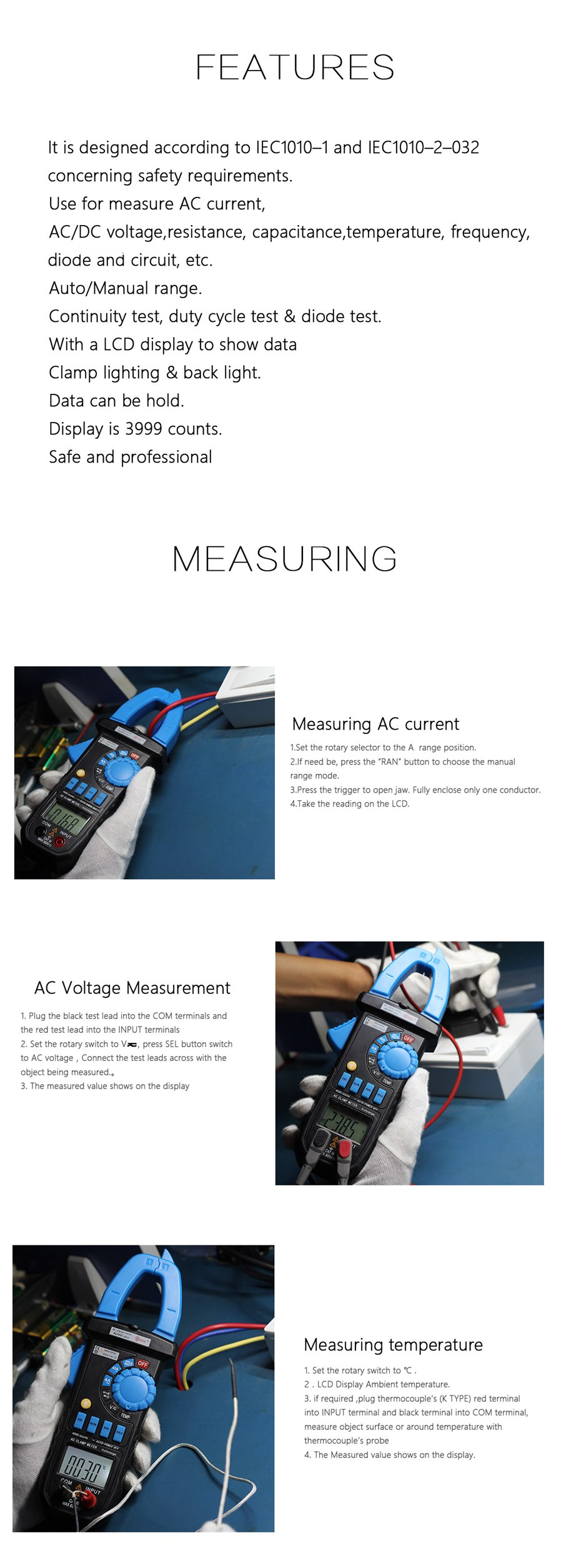 Bside Acm02 Plus 600a Ac Current Digital Clamp Meter Multimeter Lcr Bridge Patch Measure Smd Universal Clip Multipurpose Test General