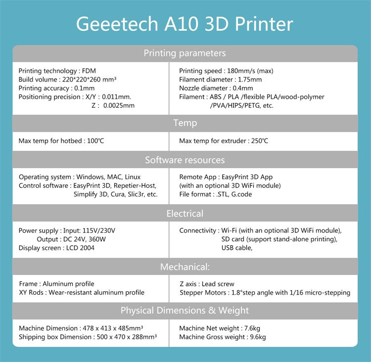 Geeetech A10 3D Printer Kit, Supports Quick Installation, Print Area  220*220*260mm