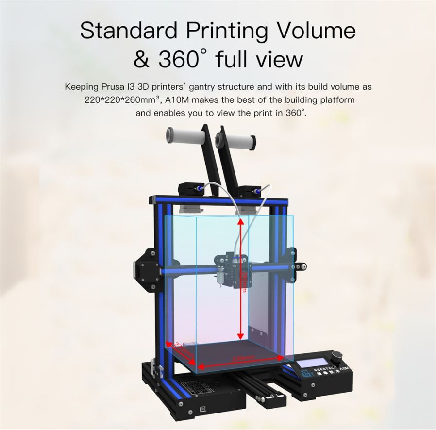 Geeetech A10M Mix-color 3D Printer Kit, Supports Quick Installation, Print  Area 220*220*260mm