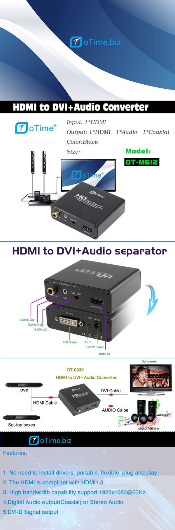 Cabledeconn active hdmi female to vga male output 35 audio converter adapter 1080p for notebook xbox 360 ps3 4