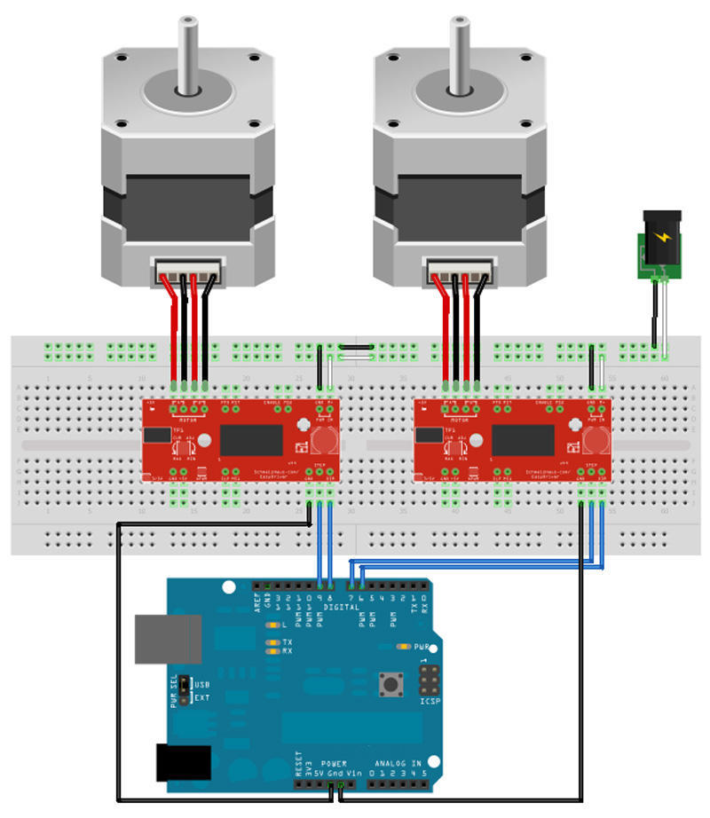 Easydriver shield stepping stepper motor driver a3967 for for Controlling a stepper motor