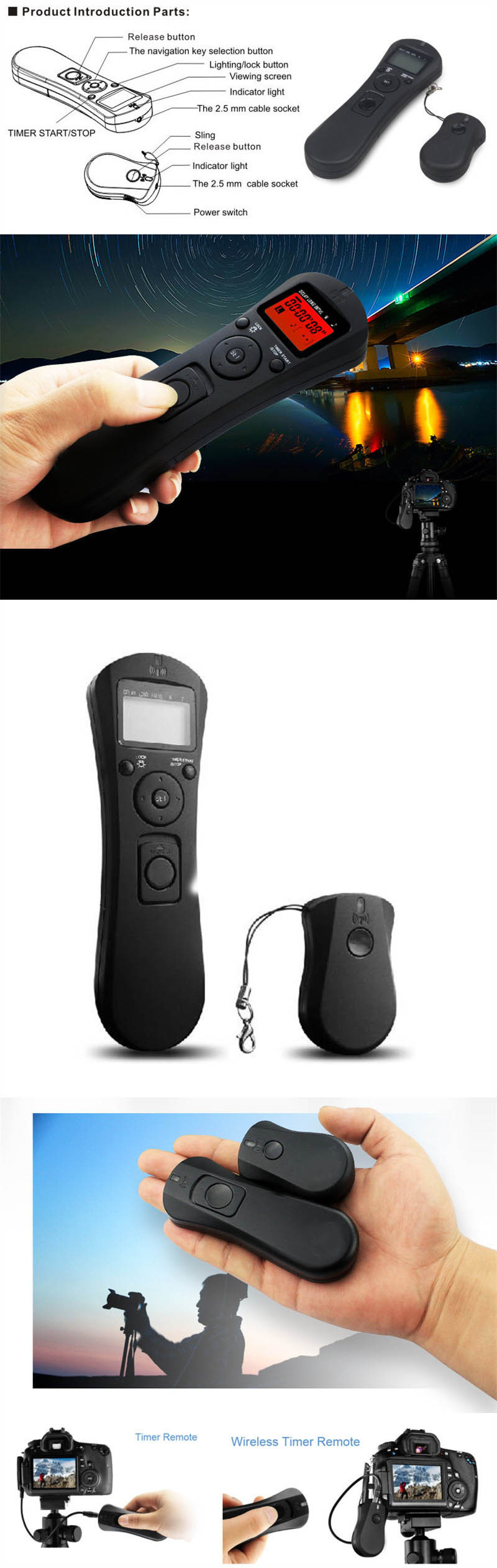 Lcd Time Lapse Remote Control Timer Shutter Release For