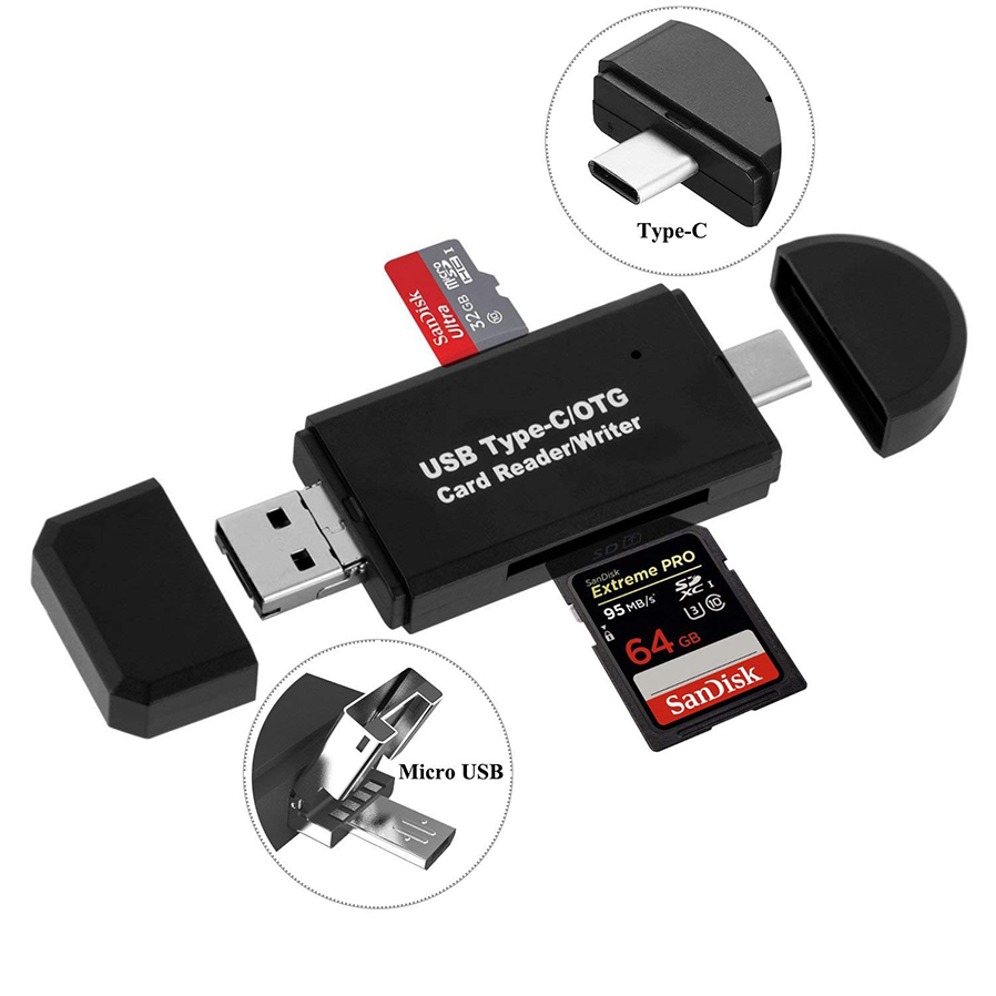 Type-c Flash Memory Card Adapter Reader Multifunction Simultaneously Cards