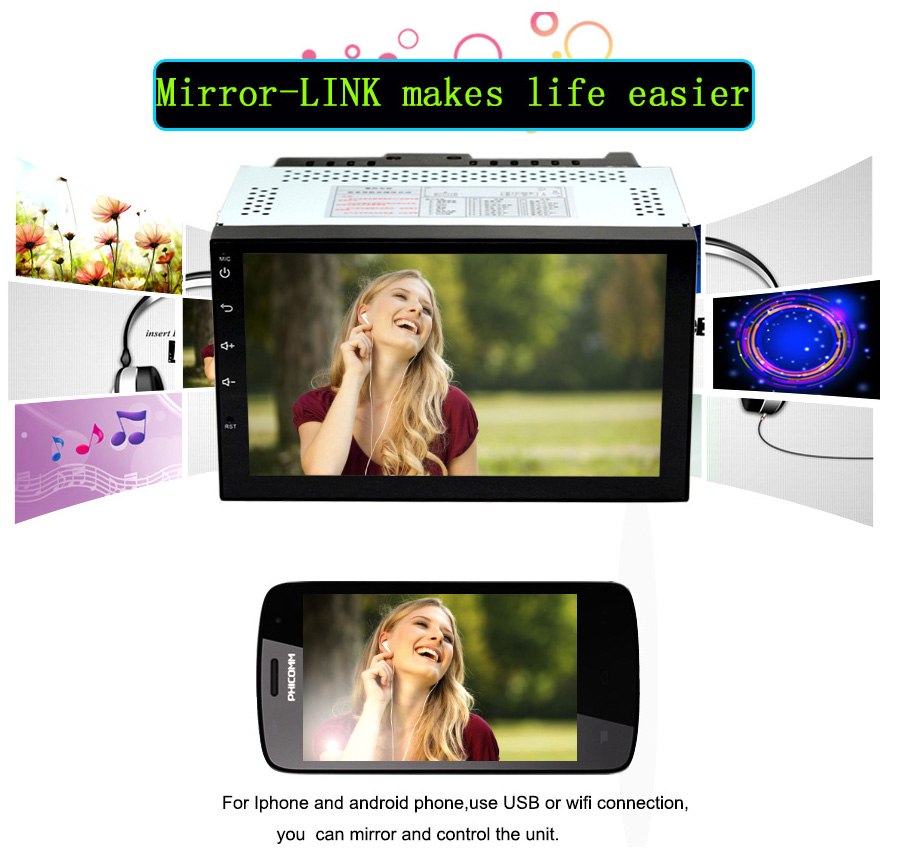 Funrover Universal Android 8 0 2GB / 32GB Quad-Core 7quot 2 Din Car Radio  Player with GPS Function for Nissan Tiida Qashqai x-trail