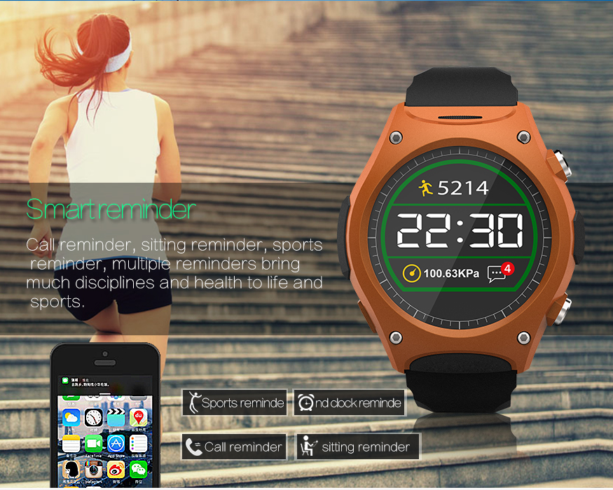 q8 sport smartwatch w heart rate atmospheric pressure. Black Bedroom Furniture Sets. Home Design Ideas