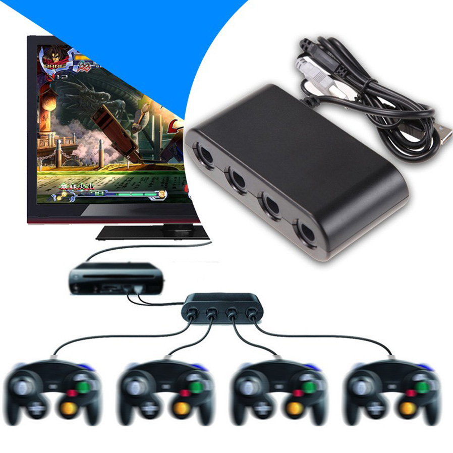 NITEO 4 Port Gamecube Game Controller Adapter Converter for Wii U ...