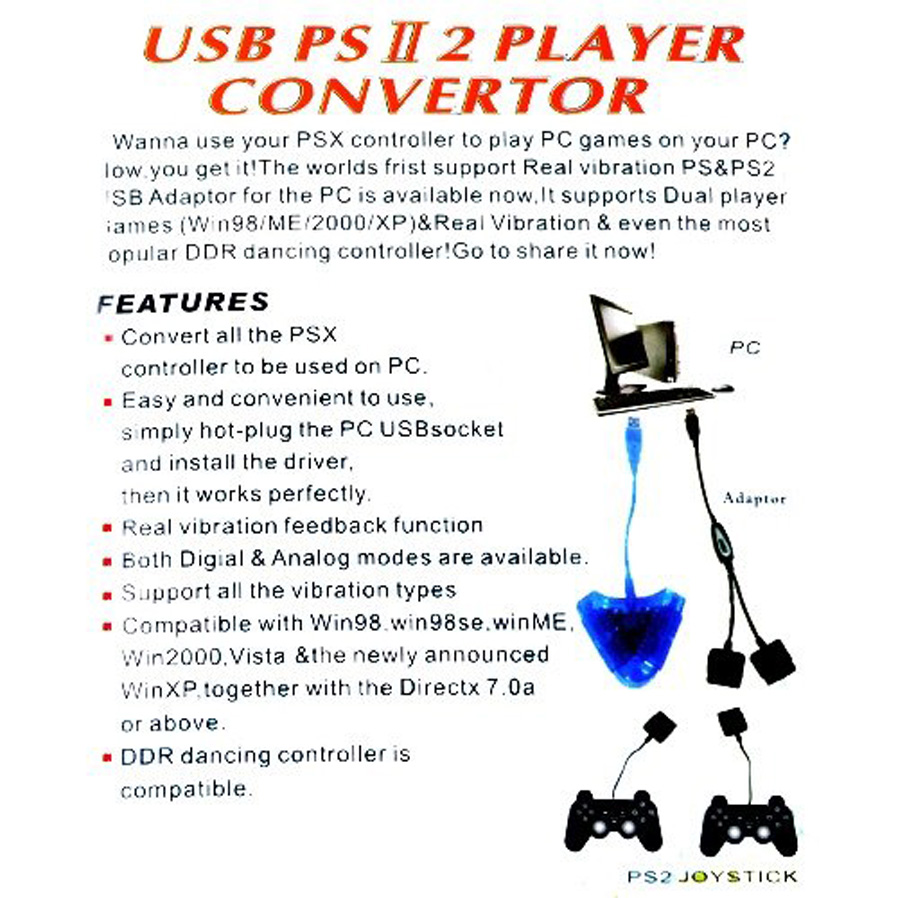 Kitbon Dual PS1 PS2 PSX Controller Game Console Joystick to PC USB  Converter Adapter