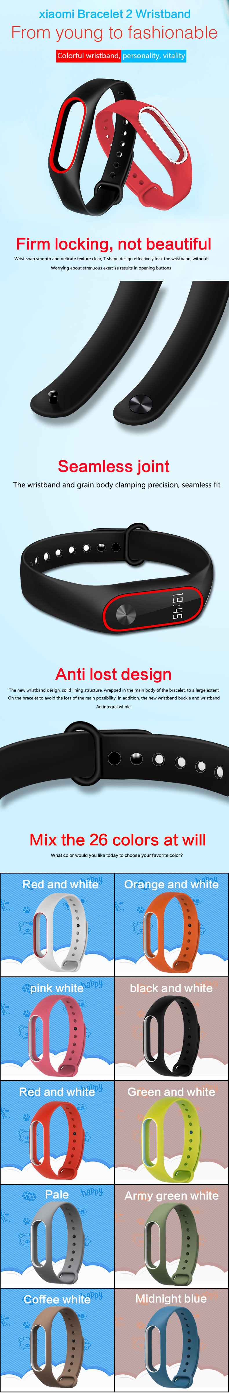 Replacement Tpu Wrist Band For Xiaomi Mi 2 Red White Free Original Black Screen Guard Pcs Only Fit Not The 1st Generation Smart Bracelet Psthe Sensor Include