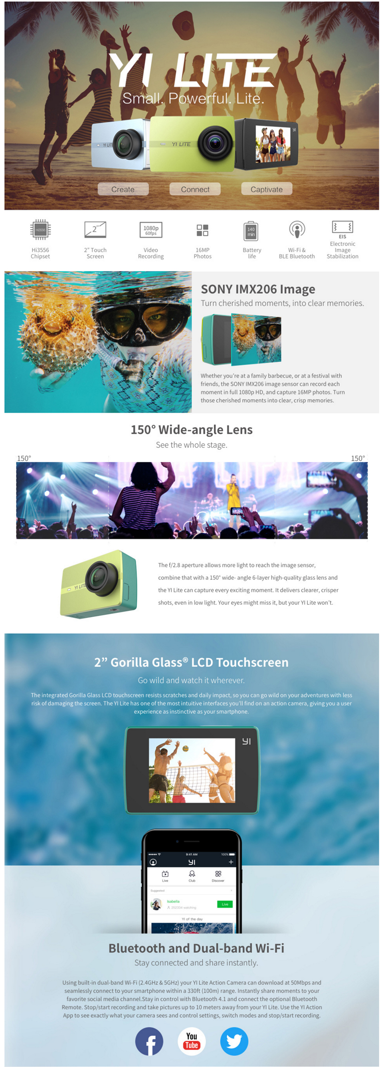 Xiaoyi Yi Lite Action Camera With 32gb Tf Card Chinese Edition Xiaomi Smart Car Dvr Tachograph General Brand