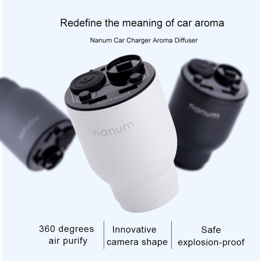 Nanum Mini Car Usb Air Humidifier Purifier Freshener With Led Lamp Parfum Product Size 73110mm Gross Weight 263g Color Black White Silver Grey Input Voltage 12v 24v Working Current Aromatherapy Mode 300ma