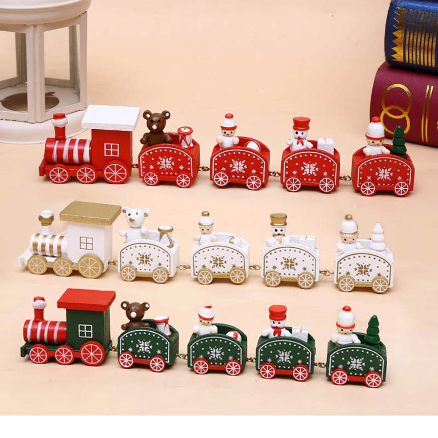P-TOP Cartoons Wooden Five Small Trains Decorations for ...