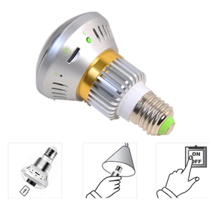 Wireless Bulb Shaped Dvr Security Camera W Back Up
