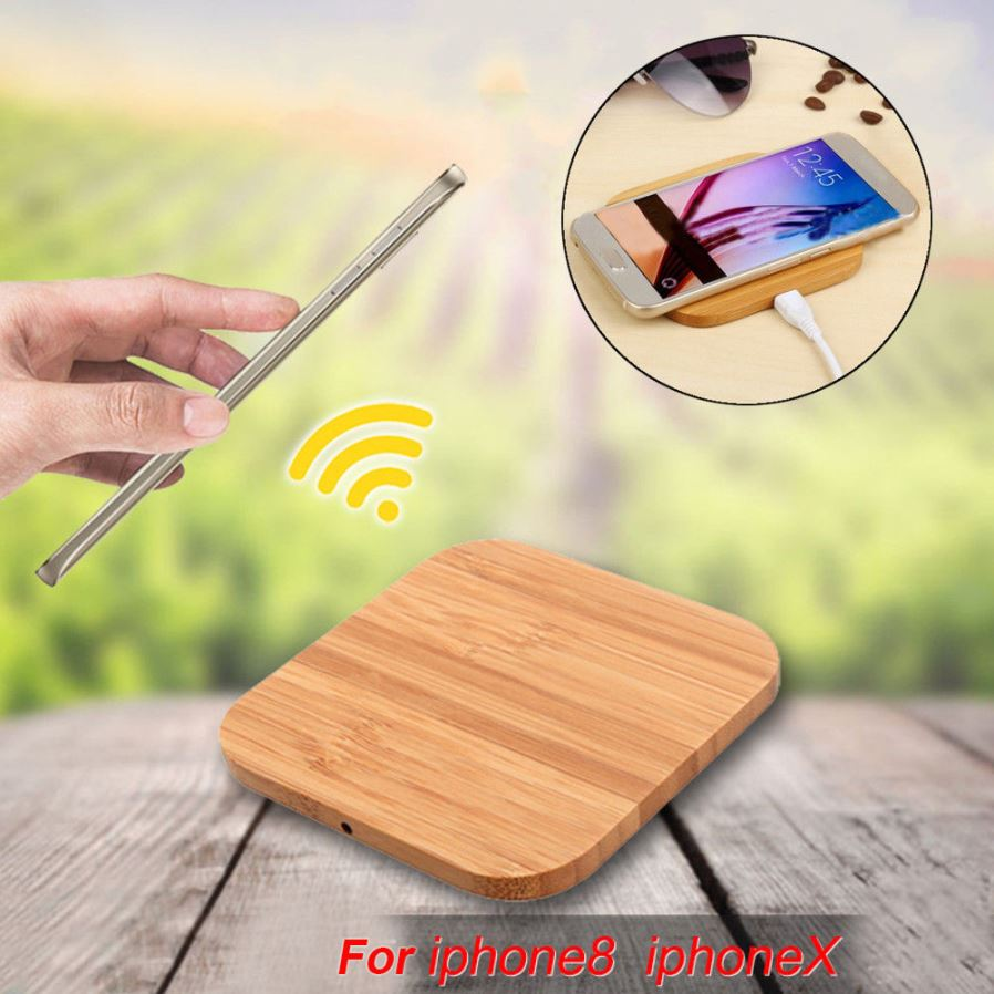 Square Wooden wireless Charger portable Qi fast charger for iphone  8/8s/X/Plus Mobile Bamboo charger
