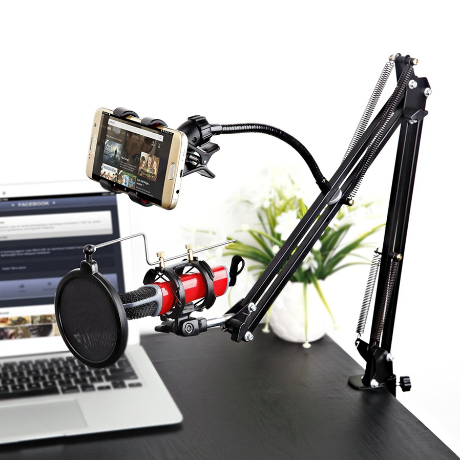 Adjustable Desk Recording Microphone Stand With Phone