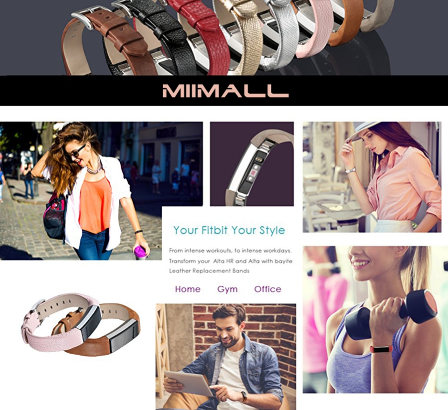 High Quality Genuine Leather Material Premium Stainless Steel Metal Clasp The metal clasp of Fitbit Alta and Fitbit Alta HR bands ...