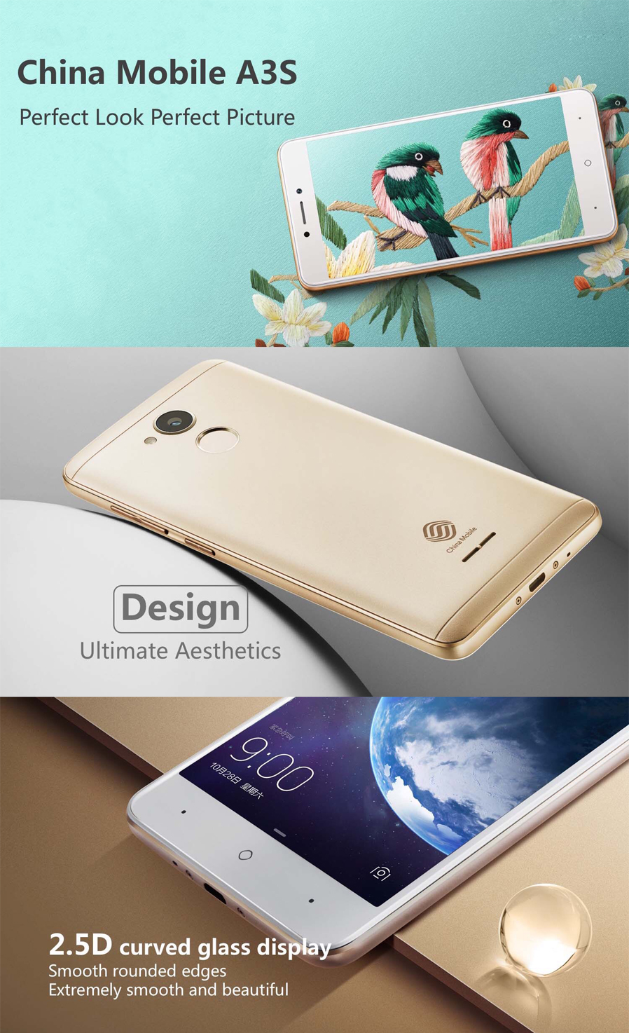 China Mobile A3s Android 7 1 4g 5 2 Quot Cell Phone With 2gb Ram 16gb Rom 2800mah Large Capacity